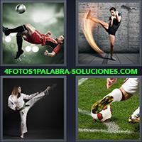 Jugador de fútbol pateando hacia el aire, Mujer dando una patada, Mujer practicando karate