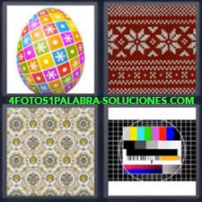 4 fotos 1 Palabra - 6 letras: huevo de colores Sintonia television Tela de flores |