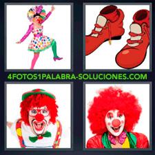 4 fotos 1 Palabra - 6 letras: disfraz mujer vestida de muchos colores peluca roja zapatos rojos |