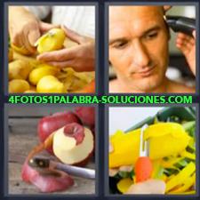 4 Fotos 1 Palabra - Cortar Manzanas Cortar Patatas O Papas Cortarse El Pelo |
