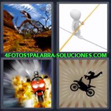 4 Fotos 1 Palabra - moto saltando malabarista Moto saliendo del fuego Persona saltando en la montaña |