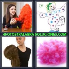 Mujer con peluca roja, Dibujo de Payaso haciendo malabares, Mujer pelada con peluca,
