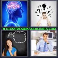 4 fotos 1 Palabra - 6 letras: Cerebro ideas chico en oficina Mujer pensando |
