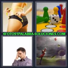 4 fotos 1 Palabra - 6 letras: mujer midiendo la cintura Hombre pensando Juego de mesa Mujer y globo volando |