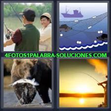 4 fotos 1 Palabra - 6 letras: oso con pescado Atardecer pescando Dibujo de barco y redes Pescador Pescadores |