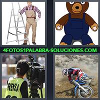 4 Fotos 1 Palabra - Hombre con overol y escalera |