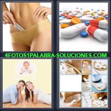 4 Fotos 1 Palabra - pastillas pareja pensando en bebe Diferentes tipos de pastillas Mujer con medidor de embarazo Pareja pensando en tener un hijo Pastillas de diferentes colores y formas |