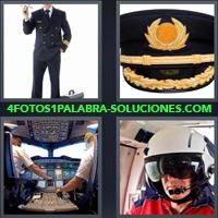 Comandante de avión, Gorra de capitán de avión, cabina de avión, Hombre con casco piloteando un avión |