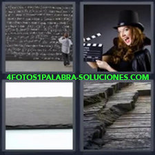 4 Fotos 1 Palabra - pizarra llena Chica con claqueta de cine Niño escribiendo en una pizarra Piedra negra Rocas negras |