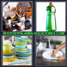 4 fotos 1 Palabra - 6 letras: vajilla Cocina sucia Detergente Limpiando la vajilla |
