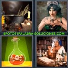 Caldero con velas, Mujer bruja vestida de verde con copa en la mano, Botella con veneno,