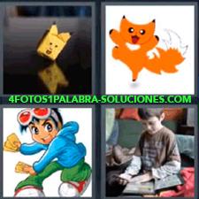 4 Fotos 1 Palabra - caricatura de gato anaranjado Caricatura de joven con camisa azul gato naranja muñeco amarillo de papel niño con cromos coleccionables |