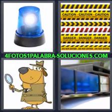 4 Fotos 1 Palabra - Cintas para prohibir el paso Dibujo de perro detective Sirena azul de policía Sirena sobre coche |