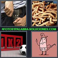 4 Fotos 1 Palabra - 5 Letras - Mano con cachiporra, Churros, 1x2, Balón de futbol, Policía