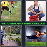 Arquero de fútbol, Portero y limpiador en la mano, Hombre limpiando, Arquero atajando un balón