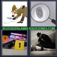 Detective con lupa, Lupa con huella dactilar, Escena del crímen con pistola y números 1 y 2,