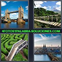 Puente en londres, Pasarela sobre río con montañas, Escaleras sobre laberinto, Vista Ciudad