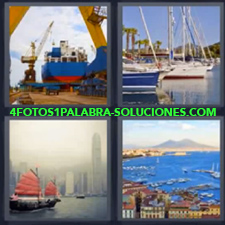 4 fotos 1 Palabra - 6 letras: buque de carga Barco antiguo Barcos de pesca Barcos veleros |