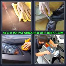 4 Fotos 1 Palabra - Trapos Abrillantando El Carro Limpiando El Coche Limpiando Zapatos |