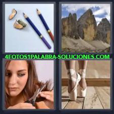 4 Fotos 1 Palabra - Lapices Chica Cortandose El Pelo Montañas Zapatillas Bailarina |