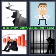 4 Fotos 1 Palabra - preso grieta Dibujo señor con bolsillos fuera Imagen señor sentado en el suelo con gráfico |