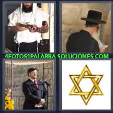 4 fotos 1 Palabra - 6 letras: religion judia Estrella de David Estrella judia Religioso |