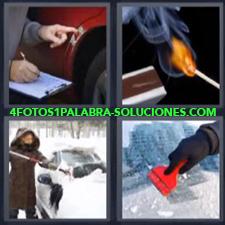 4 fotos 1 Palabra - 6 letras: Cerilla o fósforo o cerillo Quitar hielo de auto Quitar nieve carro Rotura coche |