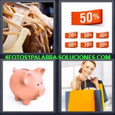 4 Fotos 1 Palabra - Etiquetas de descuento Hucha o Alcancía de cerdito Mujer con bolsas de la compra Tienda de ropa |