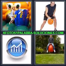 4 fotos 1 Palabra - 6 letras: inflable Botando Grafico Jugando baloncesto Niña jugando en inflable |
