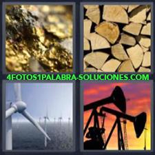 4 Fotos 1 Palabra - oro madera Molinos de energía eólica Pozos petrolíferos |