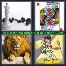 4 Fotos 1 Palabra - Elvis Carta rey de corazones Dibujo de Elvis Fichas de ajedrez León |