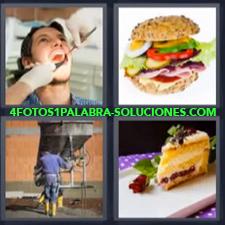 4 Fotos 1 Palabra - dentista pastel Albañil trabajando en obra o construcción Hamburguesa |