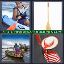 4 Fotos 1 Palabra - 4 Letras: Kayak, Embarcacion, Canoa, Gondola |
