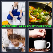 4 Fotos 1 Palabra - pintor taza de café Fuente de ensalada Niña con su madre cocinando |