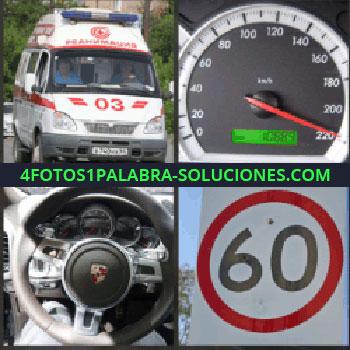 4 Fotos 1 Palabra - ambulancia. Cuentakilómetros o velocímetro. Volante porche. Señal de 60 kilómetros por hora