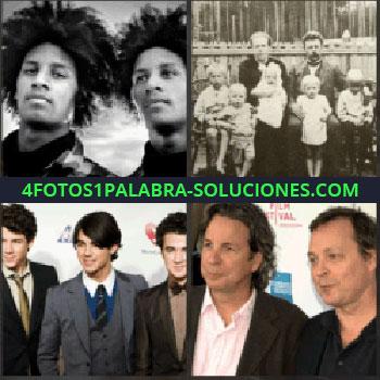 4 Fotos 1 Palabra - Chicos con pelo a lo afro. familia foto antigua. Jonas Brothers. Señores gemelos