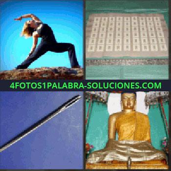 4 Fotos 1 Palabra - Mujer haciendo deporte. Piedras. Aguja. buda estatua