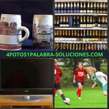 4 Fotos 1 Palabra - tazas. Botellas o botellines. Televisión. Futbol