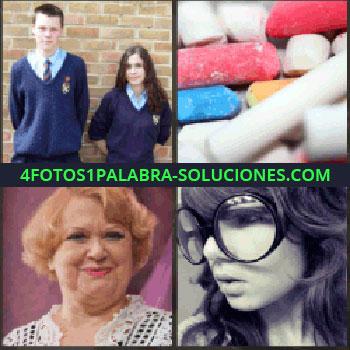 4 Fotos 1 Palabra - niños uniformados. Tizas de colores. Señora pelo corto rubio. Señorita con gafas de pasta grandes