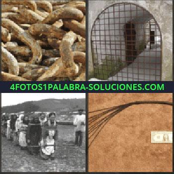 4 Fotos 1 Palabra - cadenas. Puerta de hierro. Foto antigua trabajos forzados. Látigo y billete