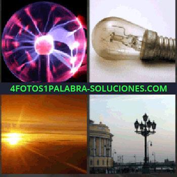 4 Fotos 1 Palabra - Luces rosas y violetas. Bombilla. Atardecer. lámparas o focos de la ciudad
