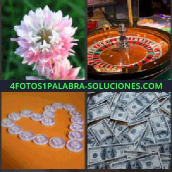 4 Fotos 1 Palabra - flor. Ruleta casino. Botones formando corazón. Billetes de dólares