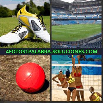 4 Fotos 1 Palabra - Tenis o zapatillas de deporte. Estadio deportivo. balón rojo. Voleibol playa femenino