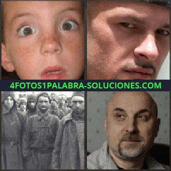 4 Fotos 1 Palabra - Niño con ojos muy abiertos. Chico con mirada seria. Foto antigua señores. hombre calvo con barba