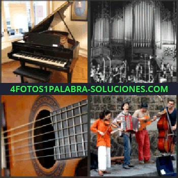 4 Fotos 1 Palabra - piano de cola. Banda de música u orquesta. Guitarra. Cuatro tocando en la calle