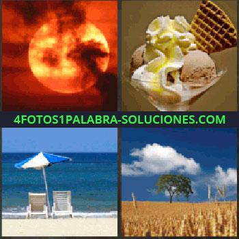4 Fotos 1 Palabra - puesta de sol. Helados. Playa con sombrilla y hamacas. Campo de trigo o cereales