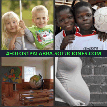 4 Fotos 1 Palabra - Niña y niño rubios. Hermanos negritos jugando al futbol. Aula de un colegio. embarazada