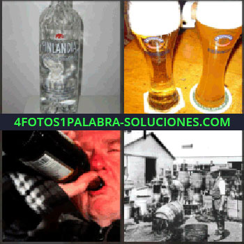 4 Fotos 1 Palabra - vodka Finlandia. Cervezas. Hombre bebiendo botella de vino. Foto antigua de fábrica