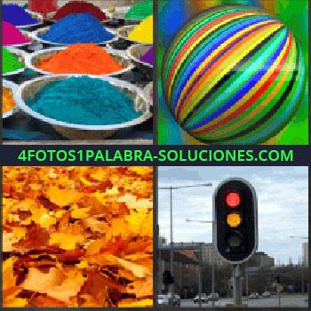 4 Fotos 1 Palabra - Platos con polvos de colores. Pelota multicolor. Hojas arboles en el suelo. semáforo