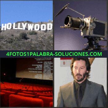 4 Fotos 1 Palabra - hollywood cartel o letrero. Cámara antigua. Butacas y pantalla de sala de cine. Actor Keanu Reeves
